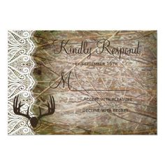 Camo Wedding Invitations Rustic Country Camo Hunting Antlers Wedding RSVP Card