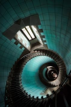 Phare de l'île vierge, Bretagne France (stairs of lighthouse of Vierge Island) / shades of turquoise Stairs And Staircase, Take The Stairs, Grand Staircase, Staircase Design, Spiral Staircases, Black Staircase, Winding Staircase, Amazing Architecture, Architecture Details