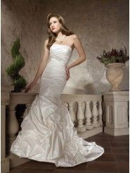 Taffeta Strapless Asymmetrical Ruched Bodice Mermaid Wedding Dress