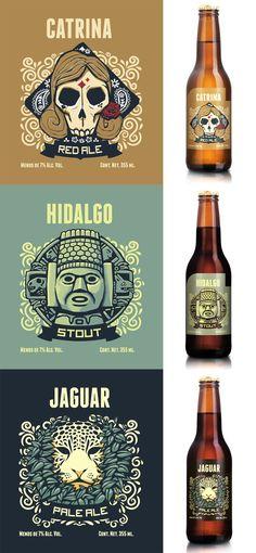 Catrina, Hidalgo y Jaguar, de Cervecería Hacienda. #beer #cerveza #design diseño