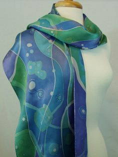 Silk Scarf, Blue Hand Painted Batik on Silk Charmeuse, Galactic Abstract in Blues, Teal, Purple, Ooak