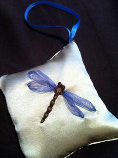 Embroidered Dragonfly Lavender Sachet  Silk by BeanTownEmbroidery