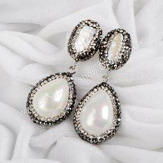 Fashion Oval Natural Pearl & Imitation Drop Pearl Dangle Stud Earrings  Post Earring Handmade White Pearl Earring Boho Jewelry JAB194 by Druzyworld on Etsy