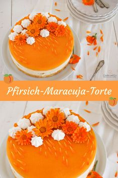 Pfirsich-Maracuja-Torte: fruchtig & frisch Recipe for a peach passion fruit cake. It tastes fruity - Easy Cake Recipes, Dessert Recipes, Passion Fruit Cake, Red Wine Gravy, Fresh Cake, Fresh Fruit, Best Pie, Flaky Pastry, Mince Pies