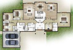 Orangehomes ' Apaloosa'. 284m2. Could convert Bedroom 1 into guest bedroom and Bedroom 3 into Master bedroom. Move garage back.