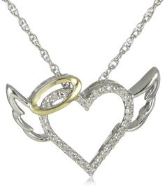 "XPY Sterling Silver and 14k Yellow Gold Diamond Winged Halo Heart Pendant Necklace, 18"" $49.99"