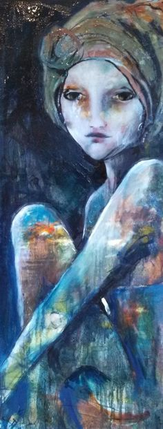 Shellie Lewis-Dambax - Painting Blue 50x20 $2,500 MM on Canvas @allison sprock fine art