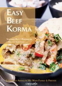 Easy Indian Beef Korma Curry in a Crock-Pot Slow COoker, an absolute hit with family and friends and so easy to make! Serves 4-5. #curry #indian #slowcooker #recipes