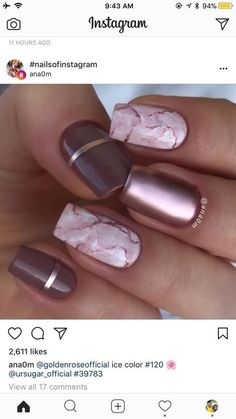 marble and metallic nails! - #nailartgalleries #nail #art #galleries