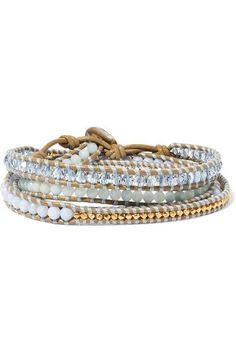 Chan Luu - Gold-plated, Amazonite, Agate And Leather Wrap Bracelet - Beige - one size