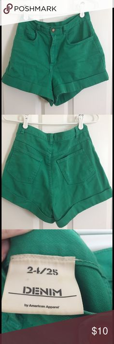 Green American Apparel high waisted shorts - 24/25 Bought these used from buffalo exchange a few years ago and have worn them maybe 5-10x. Says they are a 24/25 but I typically wear a 27/28 and they fit me well and aren't tight. No stains and in good shape. American Apparel Shorts Jean Shorts