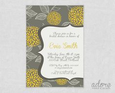 Printable Yellow & Grey Flower Bridal or Baby Shower Invitation - Choose your colors. $12.00, via Etsy.