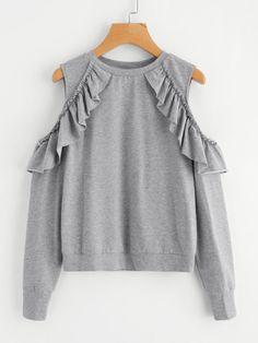 Frilled Open Shoulder Heather Knit Sweatshirt