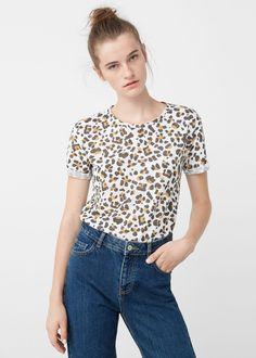 Lniana koszulka ze wzorem | MANGO