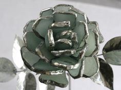 Sea Glass English Rose flower Stem Sea by SaraLeGrisCreations