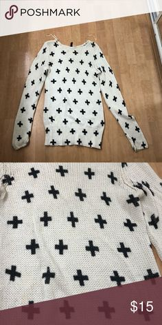 Sweater White tunic sweater with black crosses / is a size large but runs small H&M Sweaters