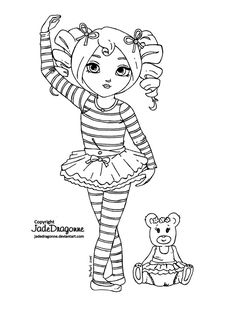 """-Traditionnal art - Ink - This drawing was requested by the lovely who patiently wait for her Auction winning request for months now! She asked for a """" dancing child ballerina with shoulder length ..."""