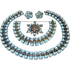 Vintage 1940s Trifari Sterling Aquamarine Rhinestone Necklace Bracelet Brooch Earrings Book AD