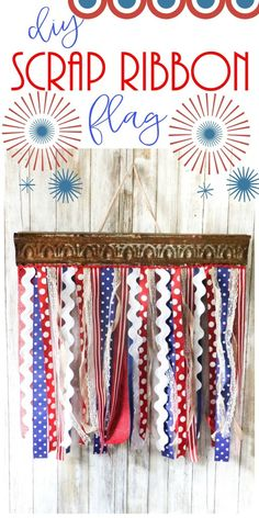Make a festive DIY scrap ribbon flag by using scrap pieces of ribbon and an old pallet board and metal piece! Cheap and beautiful! Ribbon Sticks, 4th Of July Decorations, Old Pallets, Flag Decor, July Crafts, Crafts To Make, Kids Crafts, Fourth Of July, Scrap