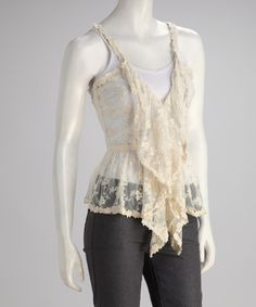 Take a look at this Cream Lace Ruffle Camisole by Ryu on #zulily today!