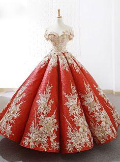Red Sequins Ball Gown Appliques Off The Shoulder Wedding Dress - atemberaubende kleider Red Ball Gowns, Ball Dresses, 15 Dresses, Evening Dresses, Fashion Dresses, Formal Dresses, Dresses Online, Afternoon Dresses, Flapper Dresses