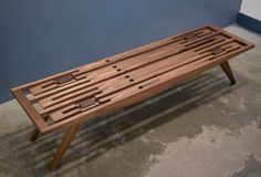 A Handcrafted Wood Bench with No Hardware Photo