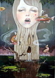 나의 아크릴 그림 제목 자연의인간 Humun Drowing wood