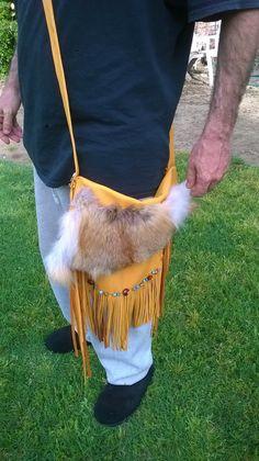 Crossbody Fringed Leather Handbag in Native American style/ Custom made by Dreamcatcherman by DreamCatcherMan on Etsy