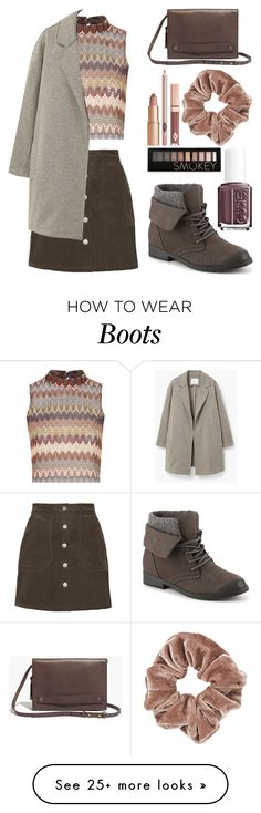 """""""Untitled 86"""" by meaganmuffins on Polyvore featuring Madden Girl, Glamorous, Topshop, Essie, MANGO, Forever 21, Madewell, women's clothing, women's fashion and women"""