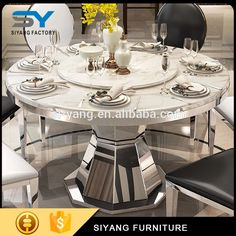 2017 round dinner table with black pu leather dinner chair for sale CT012