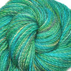 Hand spun yarn - MAGICAL WOODS - Handpainted Corriedale wool, DK weight, 360 yards. $36.00, via Etsy.