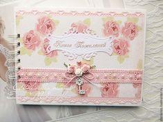"""Купить Свадебная книга пожеланий """"Шебби-шик"""" - бледно-розовый, свадьба, свадебные аксессуары"""