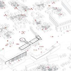An axonometric diagram of Gyawali's proposal for a new refugee camp design. Credit: Nikita Gyawali