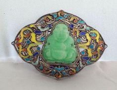 Fabulous Antique Chinese Enameled Silver Filigree Brooch Jadeite Carved Buddha | eBay