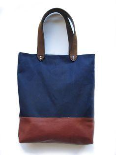 Andrea Wong Indigo Wax Cotton & Leather Bag