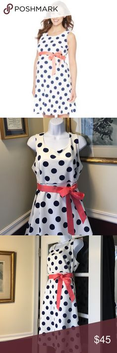 "🆕Oh Baby by Motherhood Maternity Polka Dot Dress Cute Polka Dit dress by oh Baby. White with large baby blue polka dots, with a coral color coordinating sash. Lined bodice. Sleeveless. Empire elastic waistband . Fit & flare bottom, oh baby size chart: M (8-10) chest 37-39 hips 40-41"" L (12-14) chest 40-41"" hips 42-43"". XL ( 16-18) chest 42-43""hips 45-46"". Please order pre-pregnancy size. Brand new with tags. Motherhood Maternity Dresses Midi"
