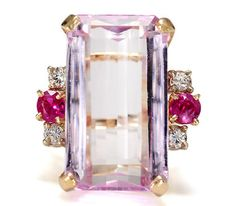 WOW. Now that's a ring!  Kunzite Ruby Ring - The Three Graces