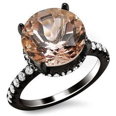 Black Gold Round Cut Morganite Diamond Engagement Ring