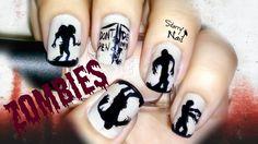 Zombie Silhouettes Scary Halloween Nail Art Tutorial