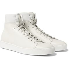 John Elliott Panelled Leather High-Top Sneakers ($430) ❤ liked on Polyvore featuring men's fashion, men's shoes, men's sneakers, mens high top sneakers, mens high top shoes, mens leather high top shoes, mens leather shoes and mens leather sneakers