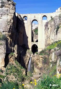 Ronda, Spain, one of the beautiful villa blanca in Andalucia.  The is the Puente Neuvo, or new brigde built in the 18th century.  If you're in the Andalucia region don't miss Ronda!