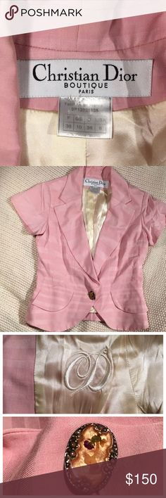 CHRISTIAN DIOR pink short sleeve blazer. This Christian Dior pink striped blazer was actually part of a dress and blazer combo. The dress unfortunately was ruined. The blazer is a very fitted and cute addition to any spring or summer outfit. And in very good condition. The button has a pressed flower in it adding a vintage look. It is made in France with us size 6 listed on it however fits more like a small. Always open to offers!! Christian Dior Jackets & Coats Blazers