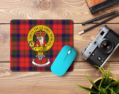 Rubber mouse pad with Robertson clan crest and tartan - only from ScotClans