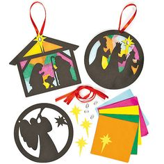 Buy Nativity Stained Glass Effect Decoration Kits at Baker Ross. Recreate the wonder of colourful church windows for these classic Christmas decorations! Christmas Arts And Crafts, Christmas Crafts For Toddlers, Preschool Christmas, Christmas Activities, Toddler Crafts, Kids Christmas, Holiday Crafts, Christmas Ornaments, Christian Christmas Crafts