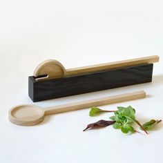 Tanti Design English Timber Salad servers with Holder. sustainable wood. Kitchen ware / tableware