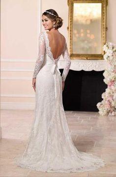 Sheath V Back Lace Wedding Dress with Long Sleeves f4d9cb16319a