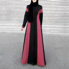 Modern Magenta Black Stripes Jersey Open Abaya with Long Abaya Fashion, Muslim Fashion, Fashion Outfits, Abaya Simple, Long Dress Patterns, Abaya Designs, Hijab Fashion Inspiration, Simple Dresses, Hijab Bride