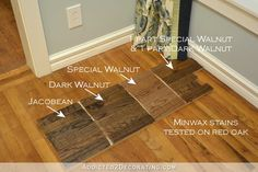 Minwax stain colors tested on red oak hardwood flooring - Jacobean,, Dark Walnut, Special Walnut - 1