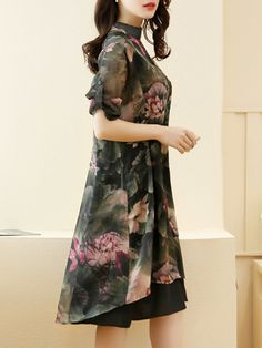 Casual Lotus Printed Chiffon Two-Piece Shift Dress Types Of Sleeves, Dresses With Sleeves, Dress Silhouette, Print Chiffon, Two Piece Dress, Fashion Prints, Tie Dye Skirt, Dresses Online, High Waisted Skirt