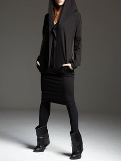 #StyleWe Shop Kowalski Dresses - Black Casual Hoodie Gathered Midi Dress online. Discover unique designers fashion at AdoreWe.net.